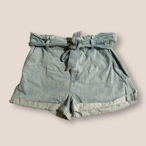 paper bag tie waist denim shorts — express
